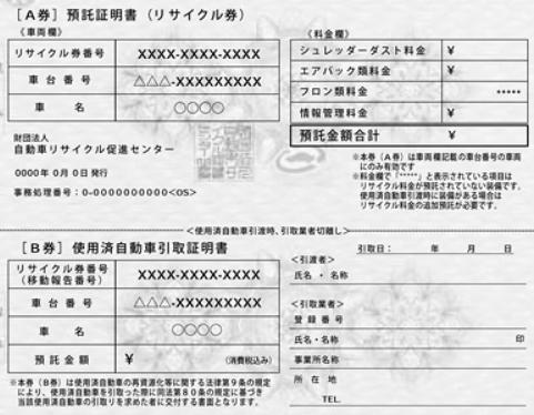 自動車リサイクル券・A券B券拡大画像