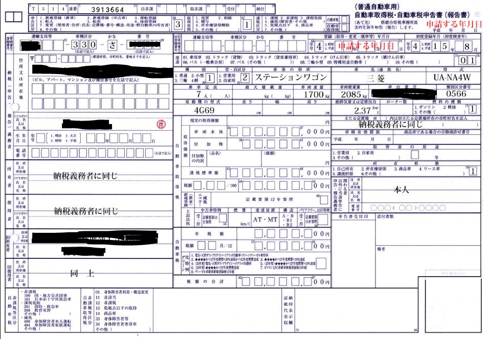 自動車税・自動車取得税申告書
