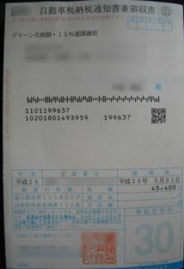 自動車税納税通知書