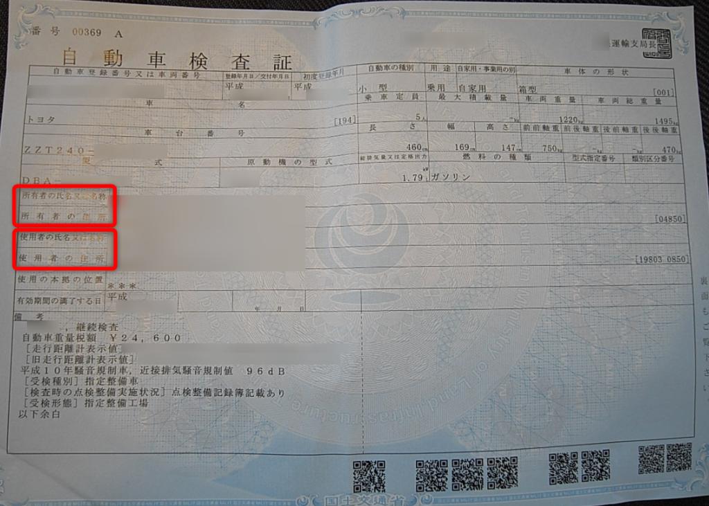自動車検査証(所有者・使用者)