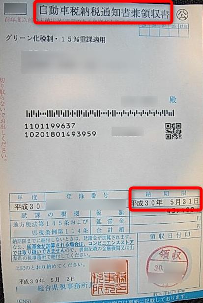 自動車納税通知書(兼領収書)