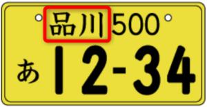 ナンバープレート使用の本拠・軽自動車